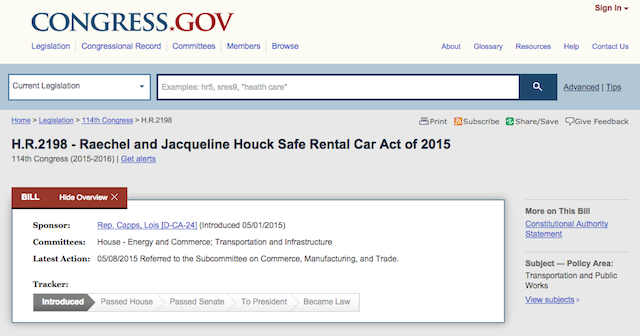 Raechel and Jacqueline Houck Safe Rental Car Act of 2015 - rental car legislation