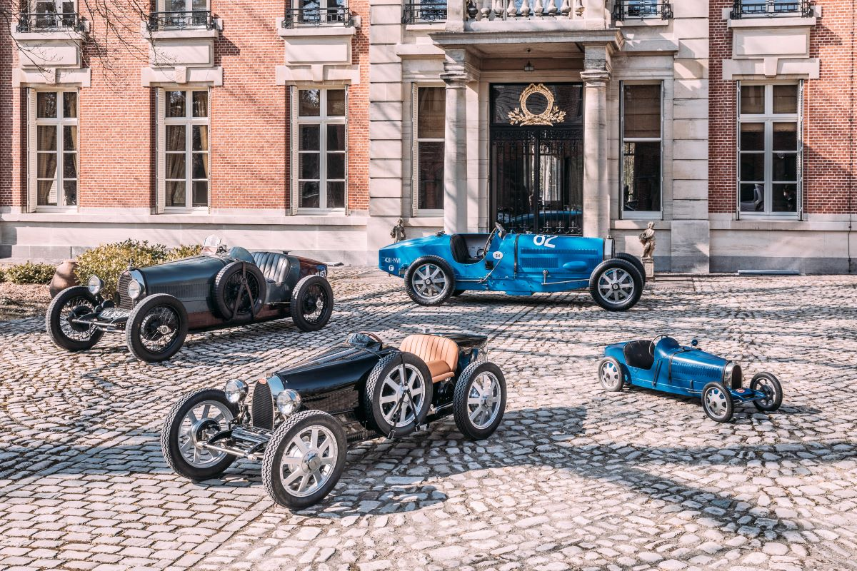 A collection of Bugatti vehicles.