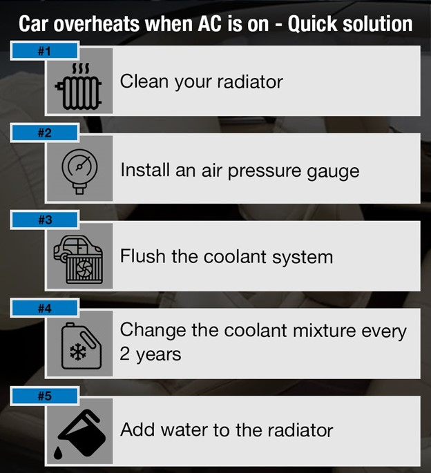 Five most common causes of car overheating when AC is on