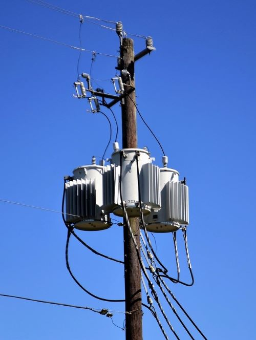 power pole, wires, and transformer