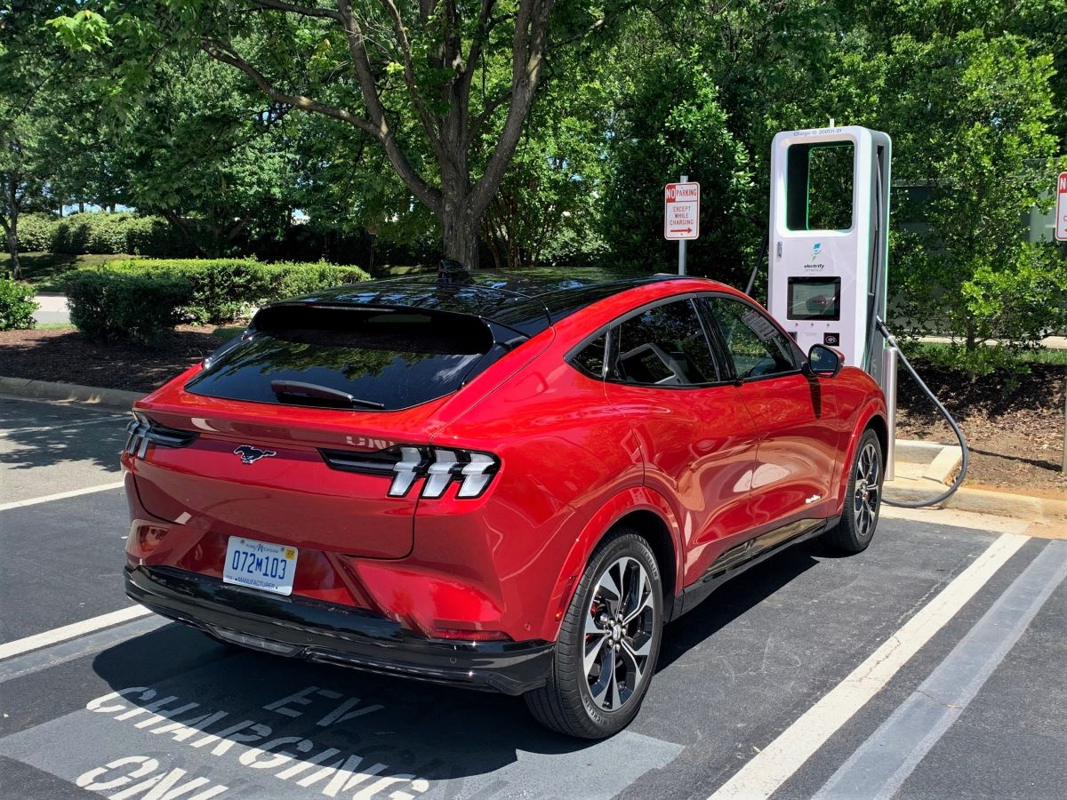 2021 Ford Mustang Mach-E plugged in