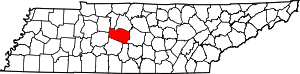 Map of Tennessee highlighting Williamson County