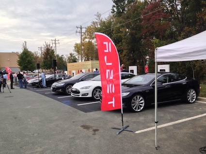 Tesla Supercharging Station.