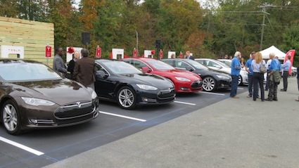 Tesla Model S supercharging station.