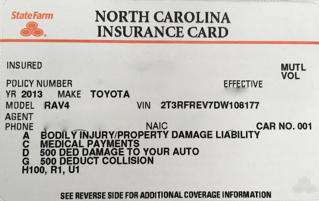 vehicle identification number on auto insurance card
